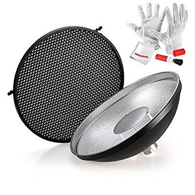 Godox ADS3 Beauty Dish Reflector with Honeycomb Grid Cover for Godox Witstro AD180 AD360 Speedlite Flash