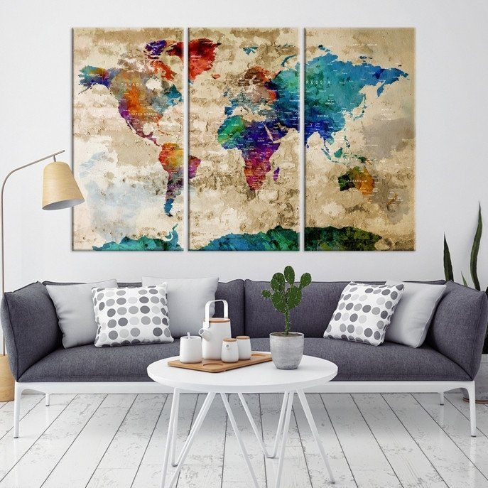 18248 - World Map Wall Art- World Map Canvas- World Map Print-  World Map Poster- World Map Art- World Map Push Pin- Push Pin World Map-