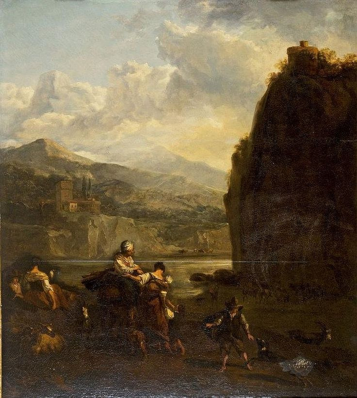 END OF XVII CENTURY NORTH EUROPEAN PAINTER <br> Roman landscape with river andshepherd family <br> Oil on wood board cm 86 x 78