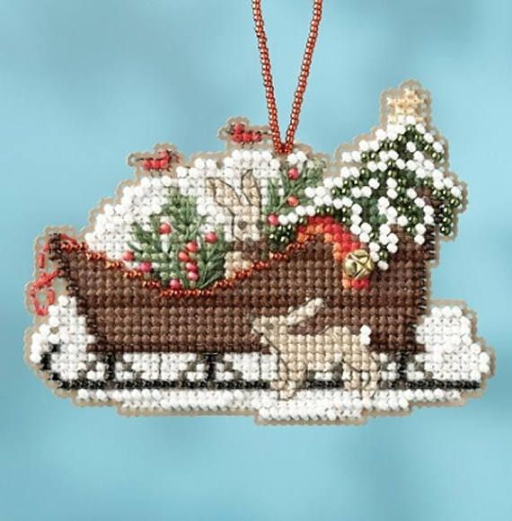 MILL HILL CHARMED ORNAMENTS Beaded Cross Stitch Kit WOODLAND SLEIGH 1735
