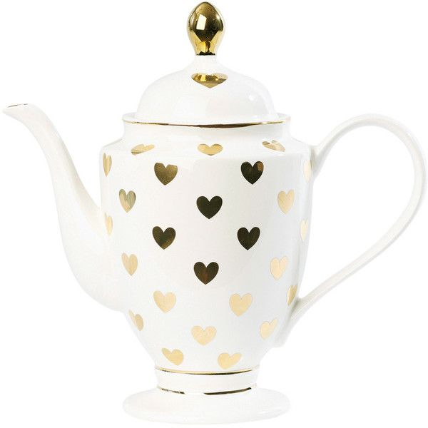 Miss Étoile Tea/Coffee Pot with Big Gold Hearts (1,270 MXN) ❤ liked on Polyvore featuring home and kitchen & dining