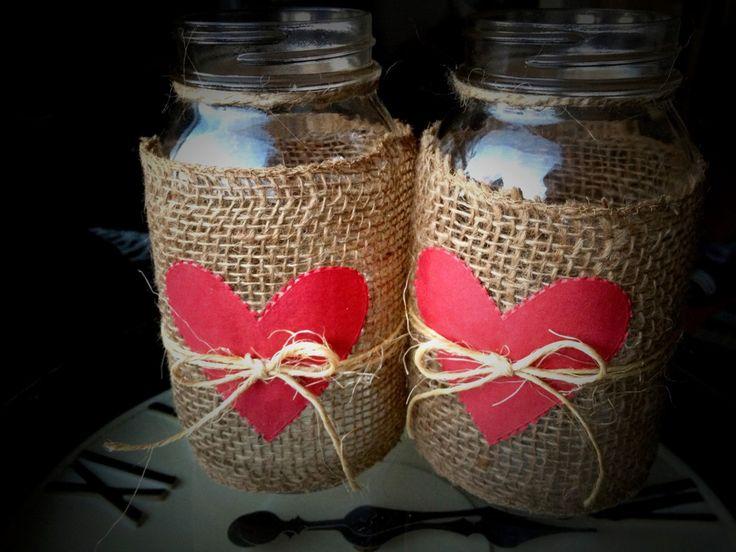 Decorated mason jars valentines day mason jars by QUEENBEADER, $16.00