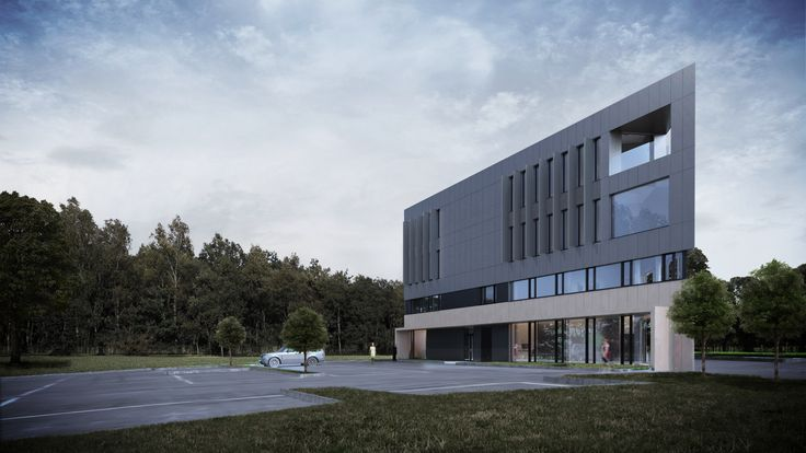 Easst.com / Office building in the shape of the triangle located in Poznan, Poland. Elevation made of black panels and stone. All rights reserved. 2015