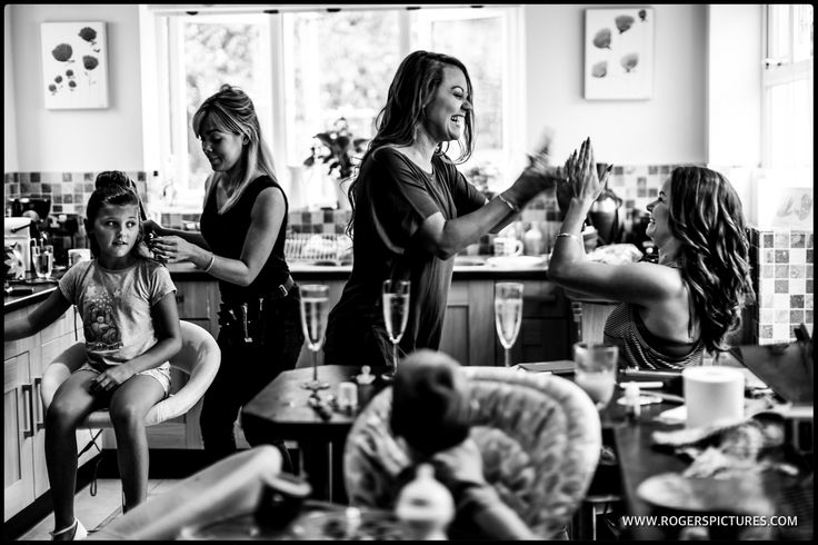 I love this busy scene in Vicky's kitchen during her prep, with bridesmaids high-fiving  -