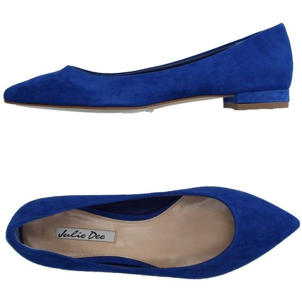 Julie Dee Ballet Flats ($109) ❤ liked on Polyvore featuring shoes, flats, blue, leather ballet shoes, blue shoes, ballet pumps, blue flats and flat shoes