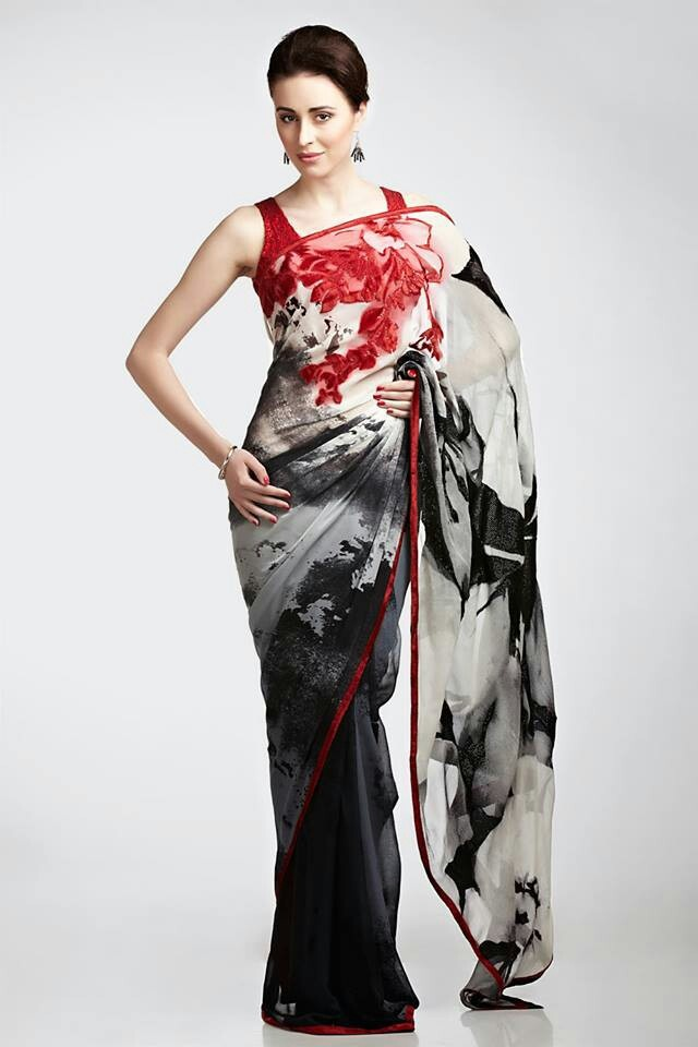 Satya paul: for max effect, this has to be wrapped to put the splash of red at the front of the bodice.