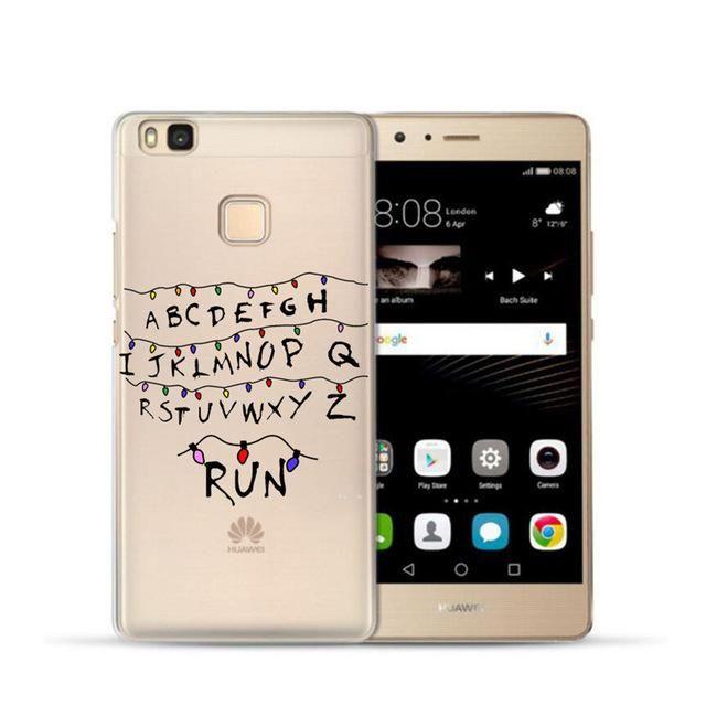 Stranger Things Christmas Lights Soft TPU transparent Phone Cover Cases For Huawei P8 Lite 2017 P9 lite P10 Cases Fundas Capa