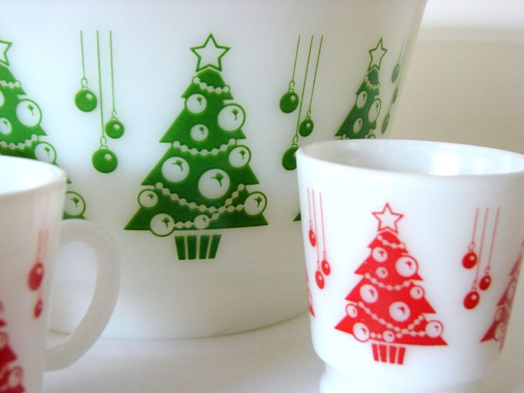 Vintage Hazel Atlas Christmas Tree Ornaments Punch Bowl and Mugs from etsy seller sassboxclassics.