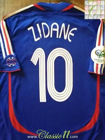 Relive Zinedine Zidane's 2006 World Cup with this original Adidas home football shirt.