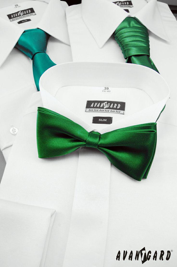 Fraková košile AVANTGARD a zelený motýlek AVANTGARD PREMIUM /// Mens shirt AVANTGARD and green bow tie AVANTGARD PREMIUM