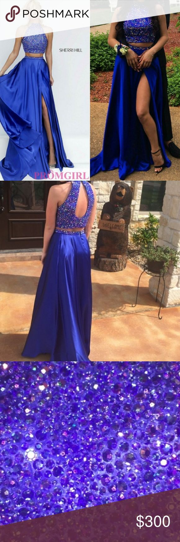 Two Piece Sherri Hill Gown Worn only once to prom, royal blue color, teardrop open back, has a leg slit, rhinestone halter top, small train, price negotiable, perfect condition Sherri Hill Dresses Prom
