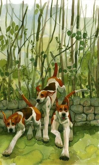 Foxhounds, woods. An original painting by Mary Ann Rogers, watercolour artist.