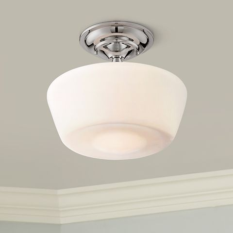 Schoolhouse Floating 12 Wide Chrome Opaque Ceiling Light 2t812 Lamps Plus Ceiling Lights Glass Ceiling Lights Ceiling Light Fixtures