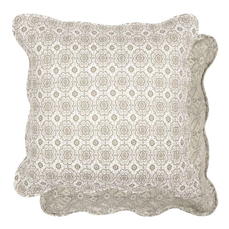 Mooie landelijke quilt kussenhoes grijs patroon 40 x 40 cm - 8717459386044 - Avantius