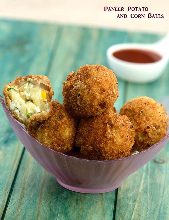 Paneer Potato and Corn Balls, paneer, potato and corn an excellent combo make a great snack and starter for parties.