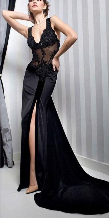 Black v-neck transparent evening gown with sleeveless lace #prom #promdress #dress #eveningdress #evening #fashion #love #shopping #art #dress #women #mermaid #SEXY #SexyGirl #PromDresses