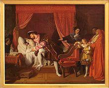 Francis I of France receiving the last breath of Leonardo da Vinci, by Ingres, 1818