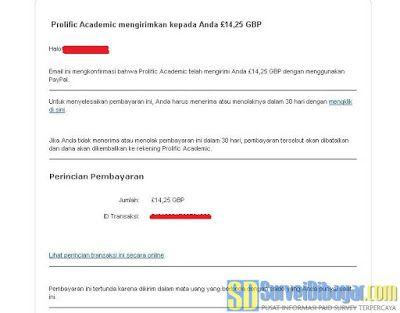 Notifikasi dari PayPal untuk menerima pembayaran saldo Prolific Academic | SurveiDibayar.com