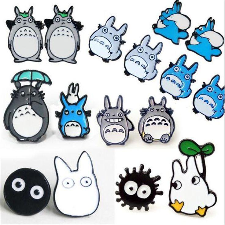 1pair korean harajuku women enamel earings jewelry punk animal candy color totoro ear stud piercing earrings brincos bijoux