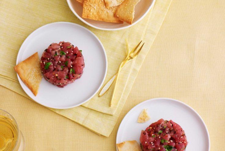 Tuna Tartar with Honey Sesame Wonton Crisps.