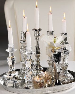 candlesCenterpieces Ideas, Candles Glow, Decor Ideas, Silver Trays, Black White, Candlesticks Centerpieces, Classy Candles, Silver Candlesticks, Candles Candleholder