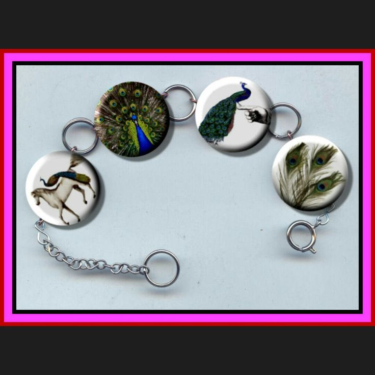 Peacock Peacocks Exotic Birds Charm Bracelet Altered Art photo jewelry by Yesware11 on Etsy.. Click for details!