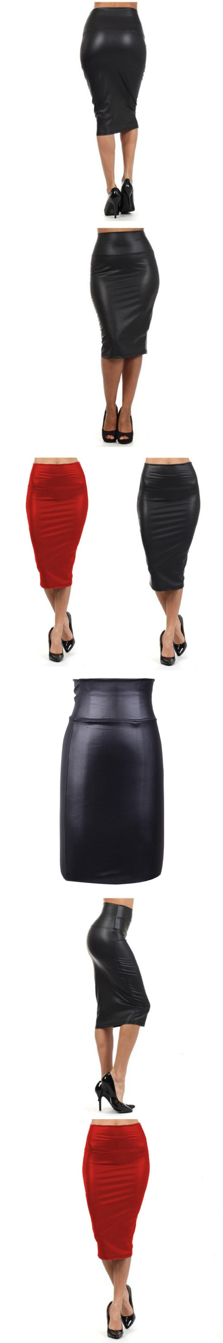 FANALA Pencil Leather Skirt Womens 2017 Autumn Red Pencil Skirts Women Plus Size High Waist black Leather Pencil Bodycon Skirt