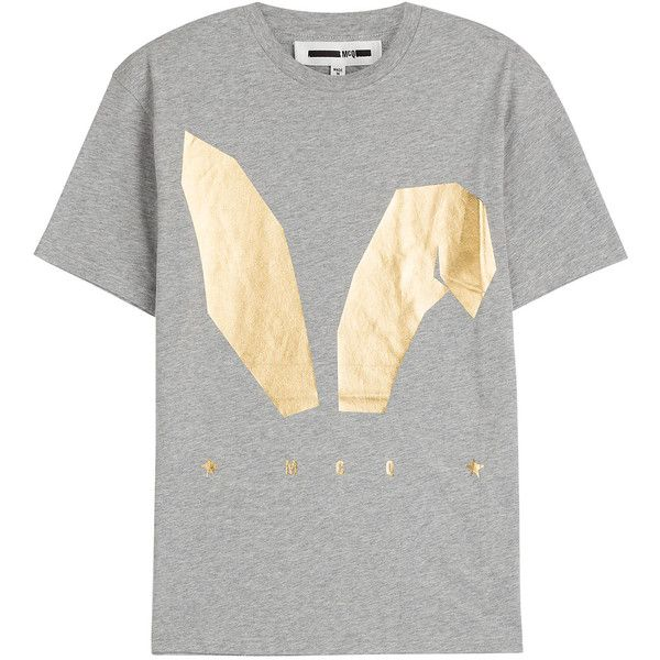 McQ Alexander McQueen Printed Cotton T-Shirt ($115) ❤ liked on Polyvore featuring tops, t-shirts, grey, bunny t shirt, mcq by alexander mcqueen, round neck t shirt, gold metallic top and bunny tee