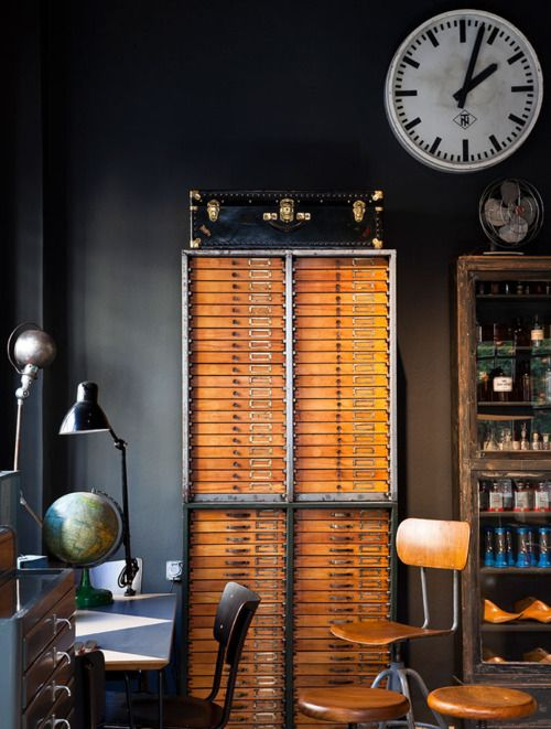 Learned.Vintage, File Cabinets, Interiors Design, Workspaces, Industrial Chic, Drawers, Home Offices, Black Wall, Dark Wall