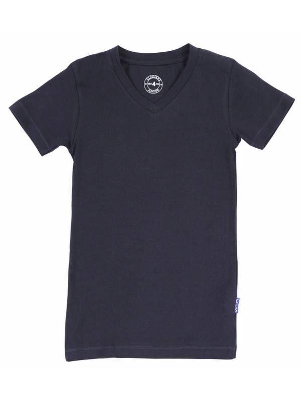 Claesen's Evergeen boys t-shirt van fijne cotton elastan met V-hals en korte mouw, in de kleur navy. https://www.underfashion.nl/kids-jongensondergoed