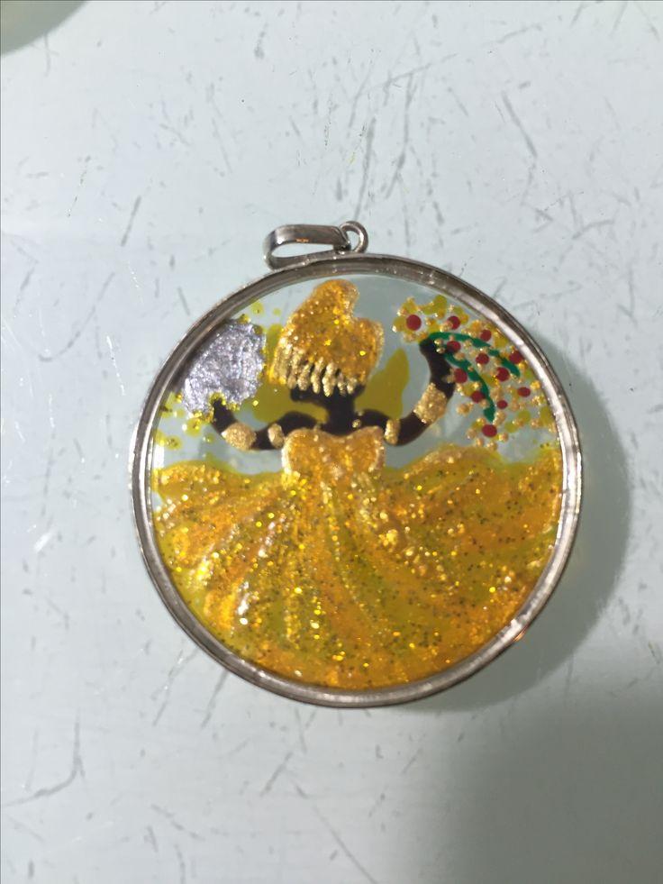Oxum... Pintado à mão sobre vidro e colocado na prata 925