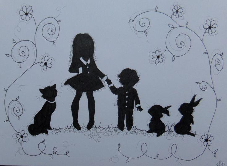 Children silhouette pen drawing from www.jakeart1.com