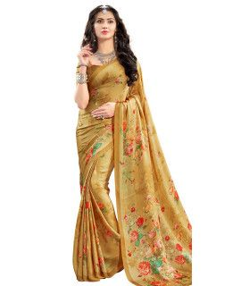 Winsome Beige And Multi-Color Satin Saree.