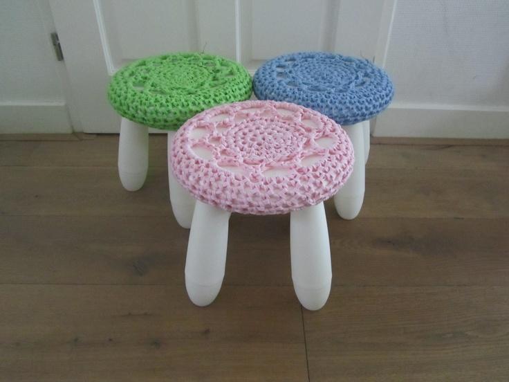 Ikea krukjes met gehaakt versiering
