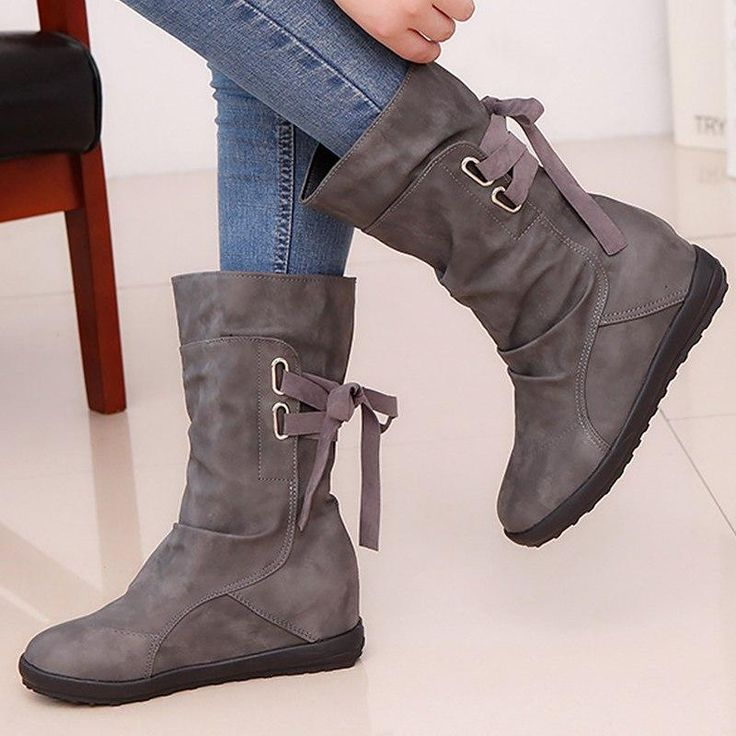 Details about  /Girl Knit Breathable Low Heel Women/'s Hollow Out Mid Calf Boots Roman Mesh Shoes