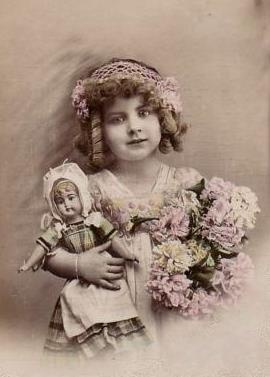 Little girls and their dolls 19th century paintings Victorian and Edwardian postcards