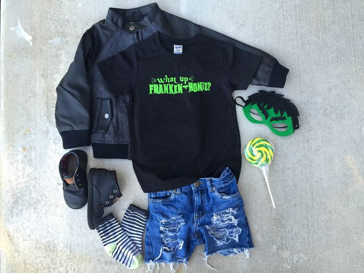 What Up Franken-Homie? · Neverland Crew Clothing ||| Kids Fashion, Toddlers Fashion, Baby Style, Kids Clothes, Toddlers Clothes, Stylish Kids, Trendy, Trendy Clothes, Baby Fashion, graphic tees, Halloween, leather jacket, Frankenstein, Hotel Transylvania, Franken-Homie, Boy Fashion