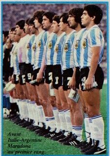 Italy 2 Argentina 2 in May 1979 in Rome. Diego Maradona and his Argentina team line up for the friendly.