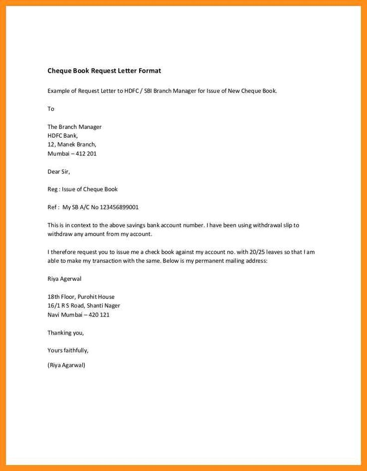 letter format requesting for cheque book fresh cheque book request letter word format