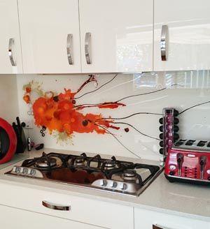 Splat Art - Hand painted glass kitchen splashback. Designed by Voodoo Glass. Gold Coast. http://www.voodooglass.com.au