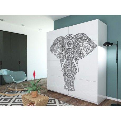 Mandala de un elefante en vinilo transparente que podrá comprar aquí en diferentes opciones de medida.