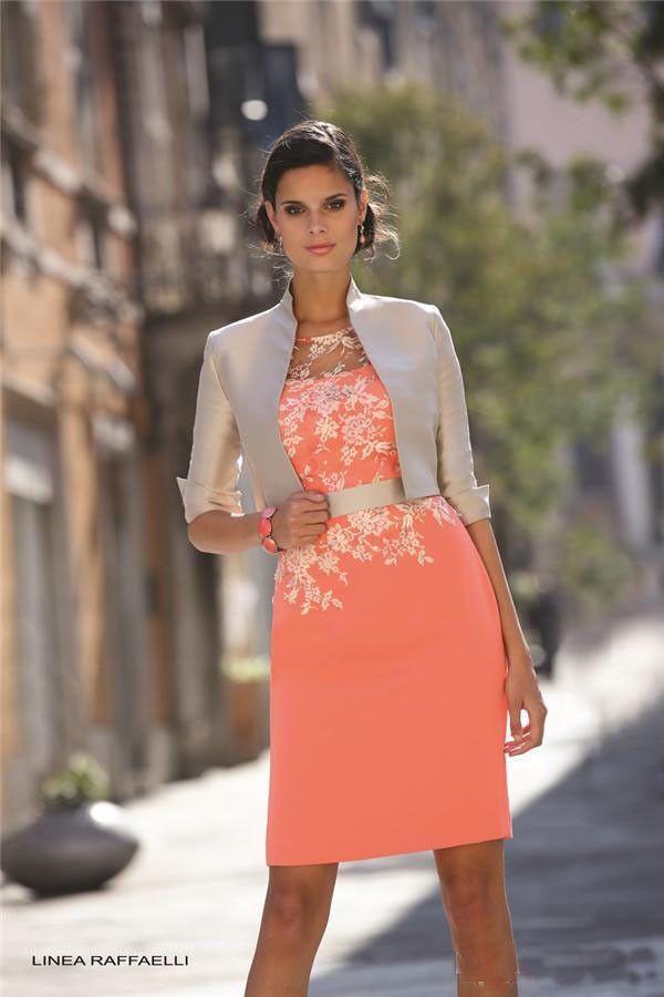 Pas cher 2015 Sexy , Plus la taille mère de la mariée robes avec veste longueur au genou Champagne et corail dentelle Applique formelle robes, Acheter Robes pour les mères de la mariée de qualité directement des fournisseurs de Chine: