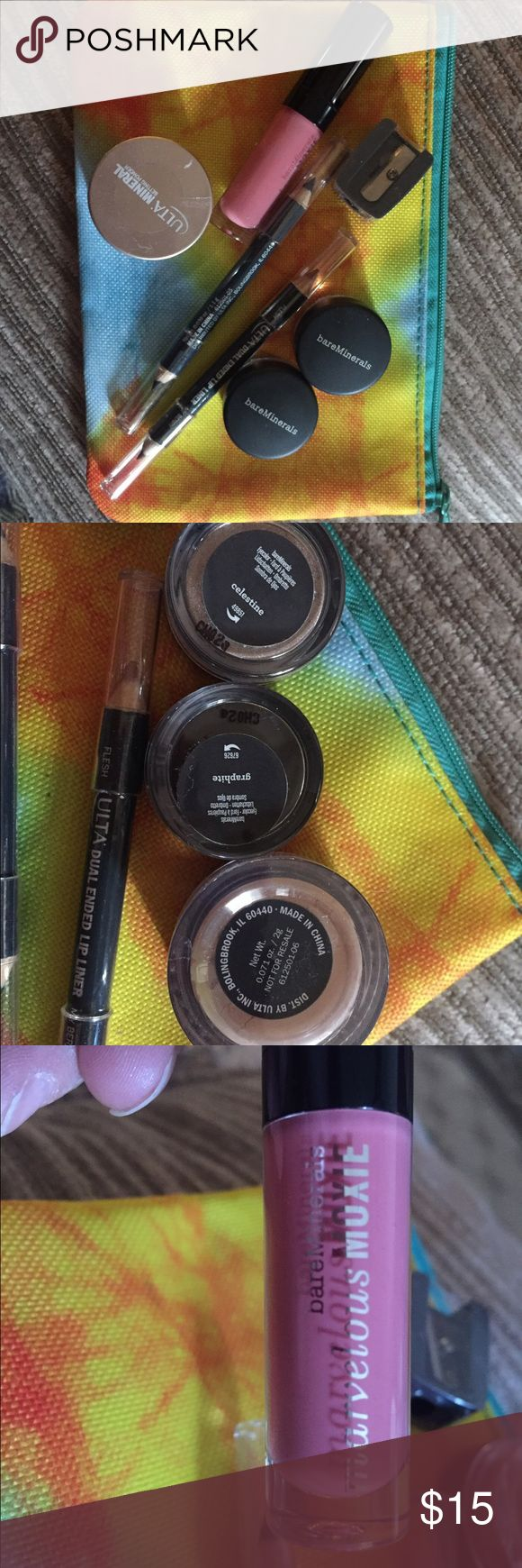IPSY Bag and Bare Minerals and Ulta Bundle!!🎉 IPSY Bag and NEW Beauty Bundle Eyes, Lips, and Face---2 Bare Minerals Eye Shadows--graphite and Celestine; Bare Minerals Marvelous Moxie gloss--Rebel color; Ulta Mineral Setting Poweder; Ulta Sharpener; Ulta Lip Liner pencil--flesh and berry; Ulta double ended eyeliner blackout and cobalt all new!!!🎉🎉🎉 bareMinerals Makeup