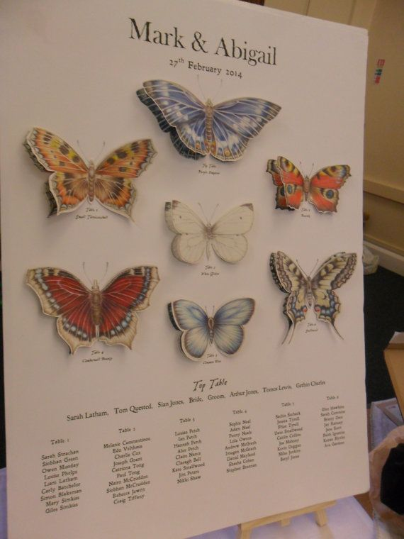 A2 Butterfly chart table seating plan by SownTogether on Etsy, £50.00