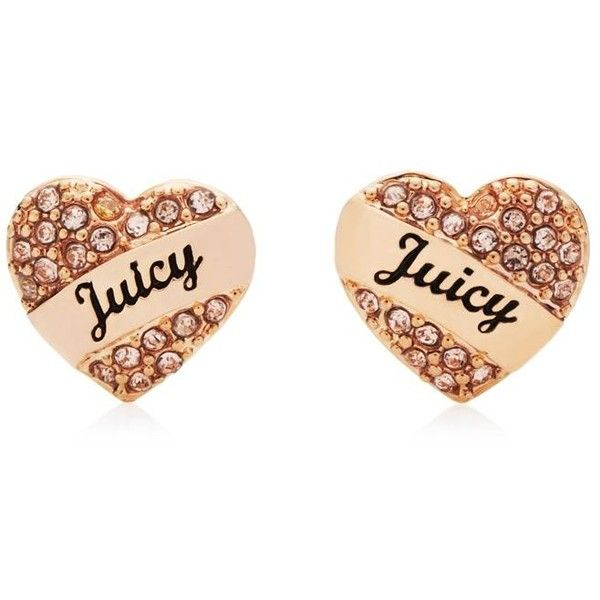 Juicy Couture Pave Heart Stud Earring found on Polyvore