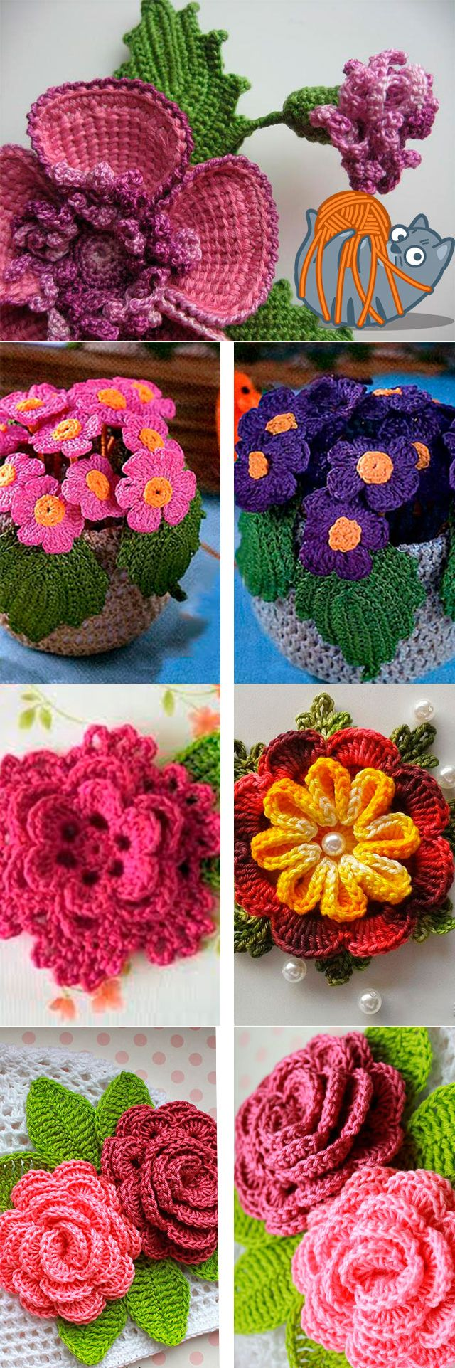 если нравится вязаные цветы из сновидений схемы и фото фигурные