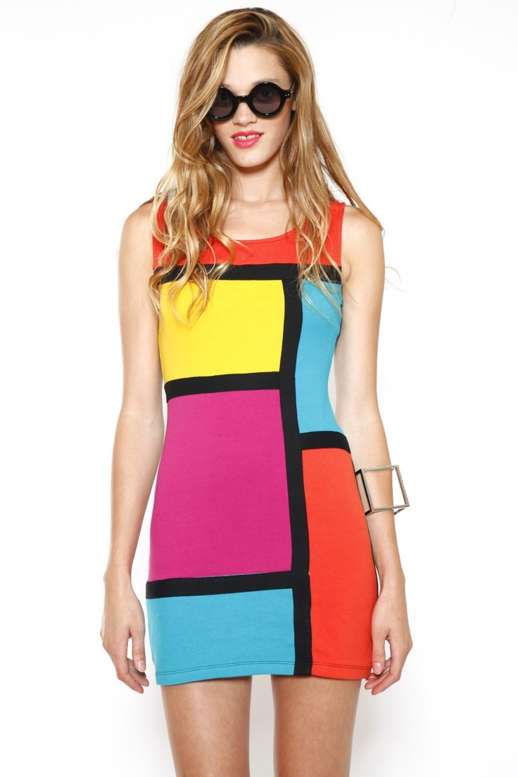Colorblock Bodycon Dress, $48  Totally smokin' bodycon dress feature Mondrian-inspired colorblock design. Awesome paired with some stacked stillettos and a serious arm party!