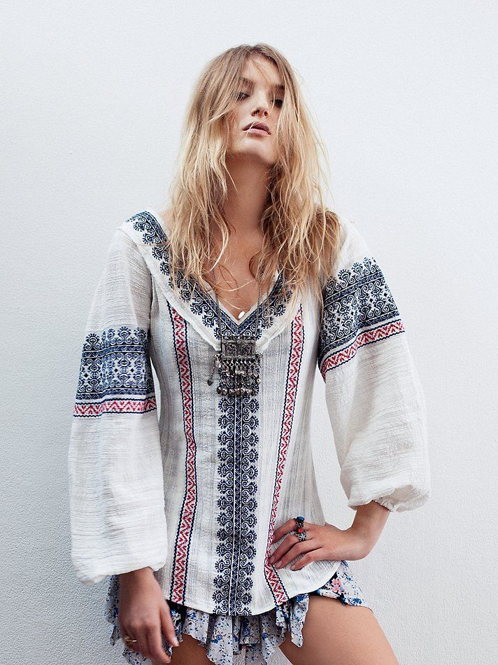 Free People All Roads Embroidery Double V Tunic, $89.95