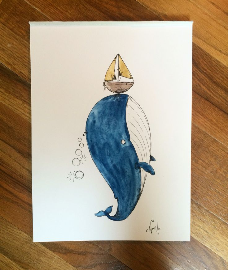 """Whale watercolor illustration on 11""""x15"""" watercolor paper for sale!"""
