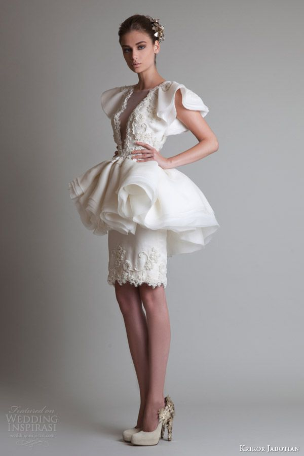 krikor jabotian fall winter 2013 2014 short peplum dress